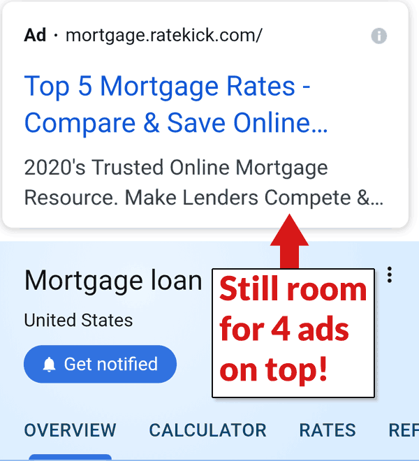 Screenshot of an ad above Google's mortgage tool