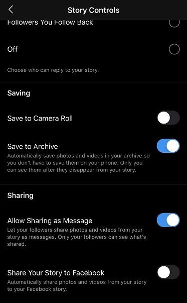 Instagram Story Highlights story controls