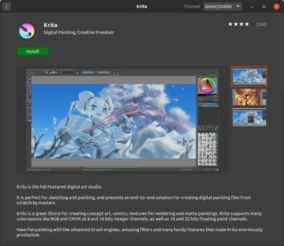 Install Latest Krita In Ubuntu Snap Click Install
