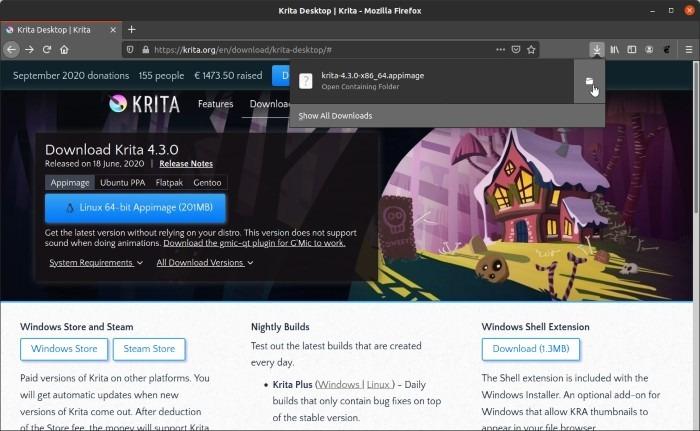 Install Latest Krita In Ubuntu Open Downloaded Folder