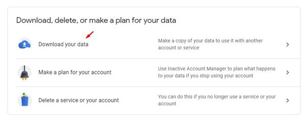 click on the'Download Your Data' option