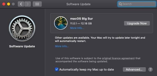 macOS Big Sur upgrade