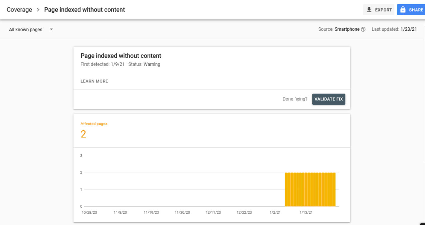 Page indexed without content warning screenshot