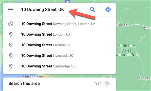 On the Google Maps website, use the search bar to search for a suitable location to add a private label.