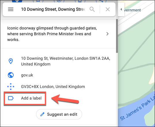 After searching for a location in Google Maps, scroll down the information panel on the left and press the